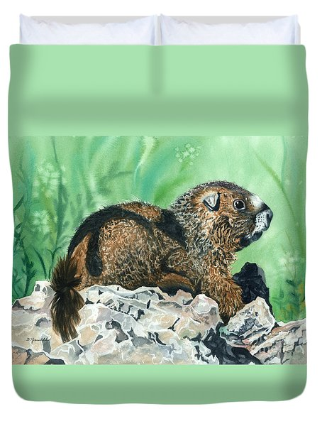 Rmbl Marmot Duvet Cover by Barbara Jewell