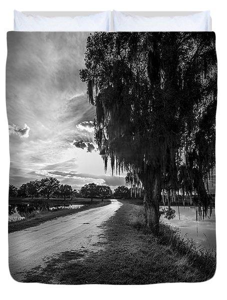 Road Into The Light-bw Duvet Cover