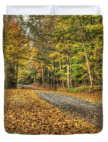 Road Into Woods Duvet Cover