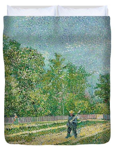 Road On The Edge Of Paris Duvet Cover by Vincent Van Gogh