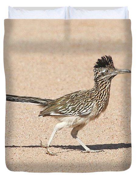 Duvet Cover featuring the photograph Road Runner On The Road by Tom Janca