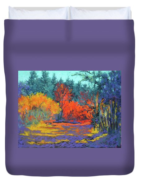 Duvet Cover featuring the painting Road To Deer Creek by Nancy Jolley