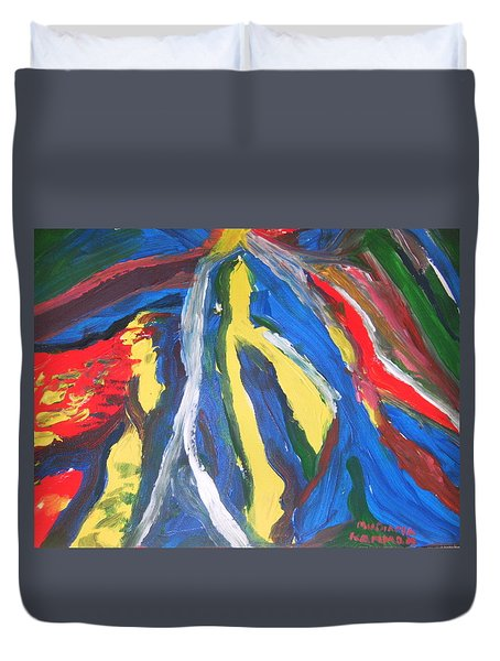 Duvet Cover featuring the painting Road To Mokasi Village by Mudiama Kammoh