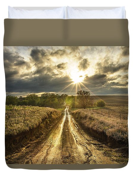 Duvet Cover featuring the photograph Road To Nowhere by Aaron J Groen
