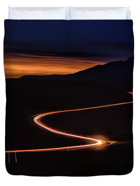 Road With Headlights And Taillights Duvet Cover