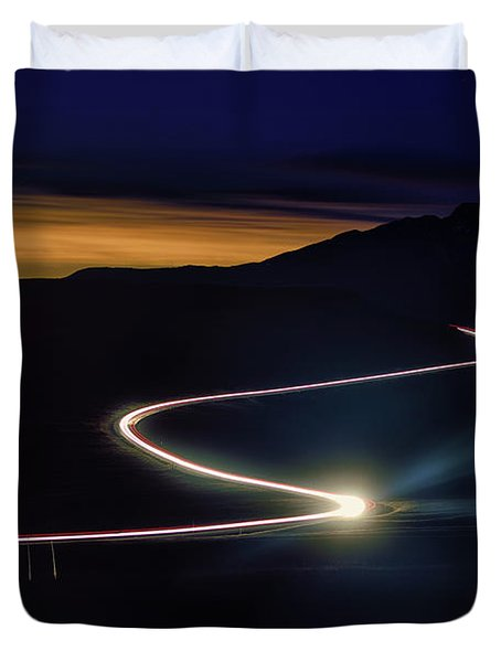 Road With Headlights In Rocky Mountain Duvet Cover