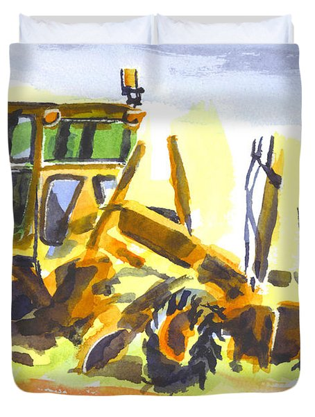 Roadmaster Tractor In Watercolor Duvet Cover by Kip DeVore