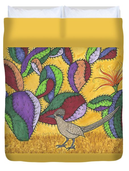 Roadrunner And Prickly Pear Cactus Duvet Cover