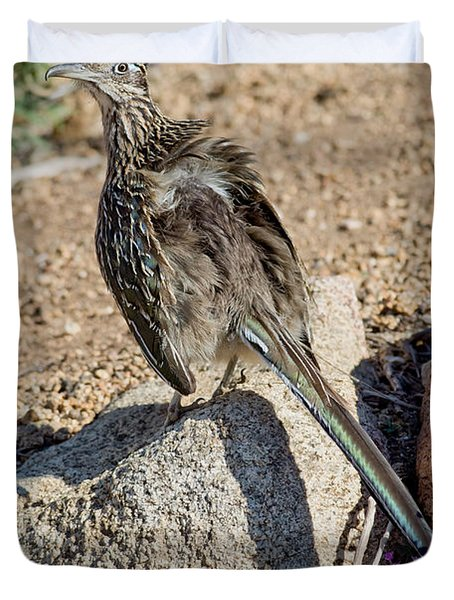 Roadrunner Sunning Atop Rock Duvet Cover