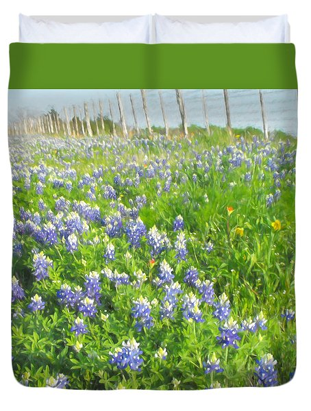 Roadside Bluebonnets  Duvet Cover