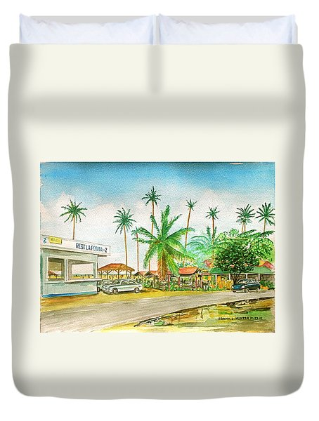 Roadside Food Stands Puerto Rico Duvet Cover by Frank Hunter
