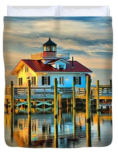 Roanoke Marsh Lighthouse Dawn Duvet Cover