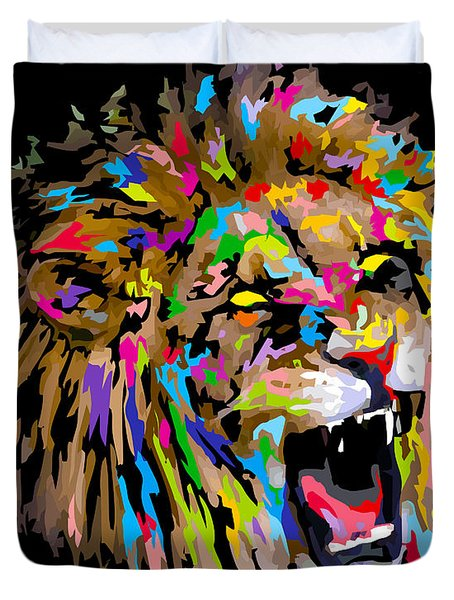 Duvet Cover featuring the digital art Roar by Anthony Mwangi