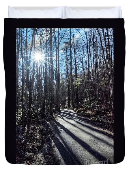 Duvet Cover featuring the photograph Roaring Fork Road by Debbie Green