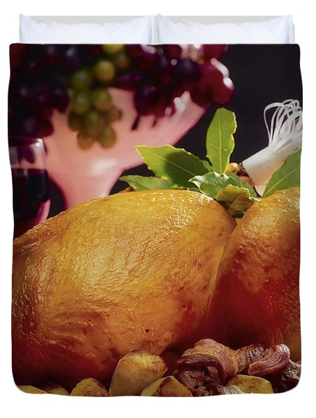Roast Turkey With Potatoes Duvet Cover by The Irish Image Collection