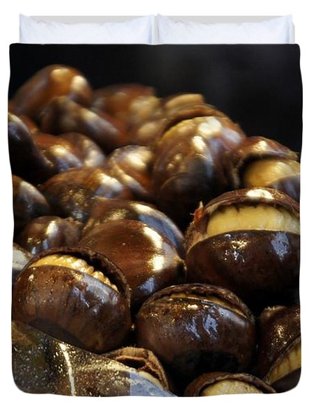 Duvet Cover featuring the photograph Roasted Chestnuts by Lilliana Mendez