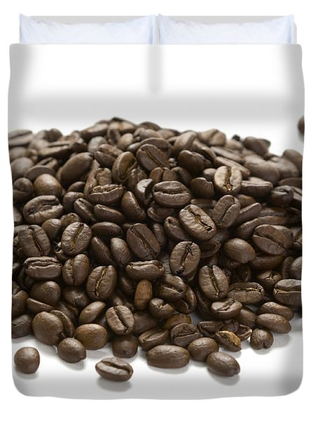 Duvet Cover featuring the photograph Roasted Coffee Beans by Lee Avison