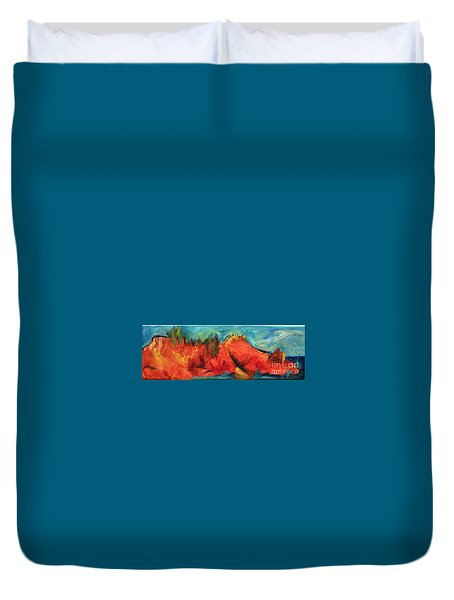 Duvet Cover featuring the painting Roasted Rock Coast by Elizabeth Fontaine-Barr