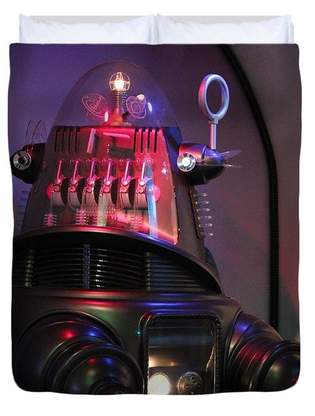 Duvet Cover featuring the photograph Robby The Robot 1956 by Cynthia Snyder