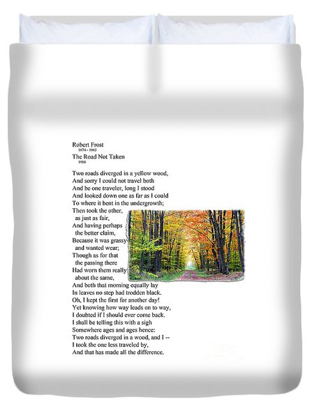 Robert Frost - The Road Not Taken Duvet Cover