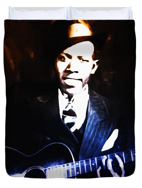 Robert Johnson - King Of The Blues Duvet Cover by Bill Cannon