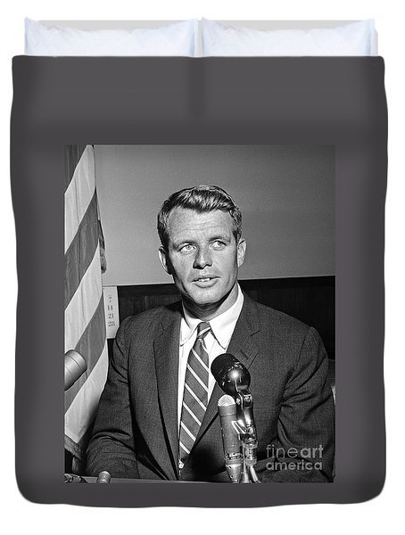 Duvet Cover featuring the photograph Robert Kennedy 1961 by Martin Konopacki Restoration