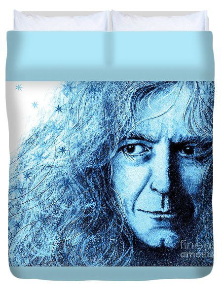 Duvet Cover featuring the drawing Robert Plant Blue by Patrice Torrillo
