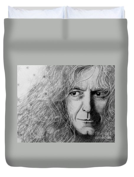 Duvet Cover featuring the drawing Robert Plant by Patrice Torrillo