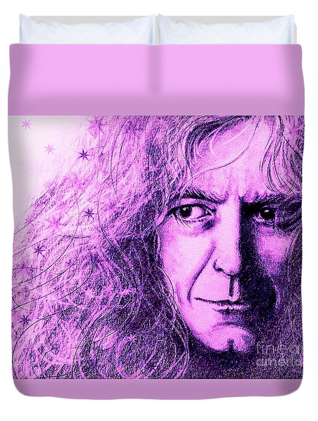 Duvet Cover featuring the drawing Robert Plant Purple by Patrice Torrillo