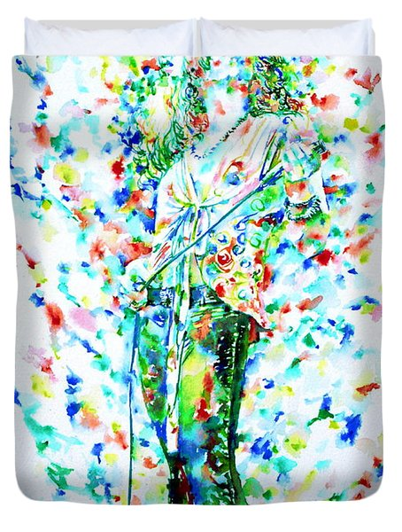 Robert Plant Singing - Watercolor Portrait Duvet Cover