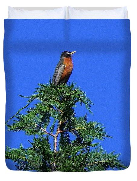 Robin Christmas Tree Topper Duvet Cover