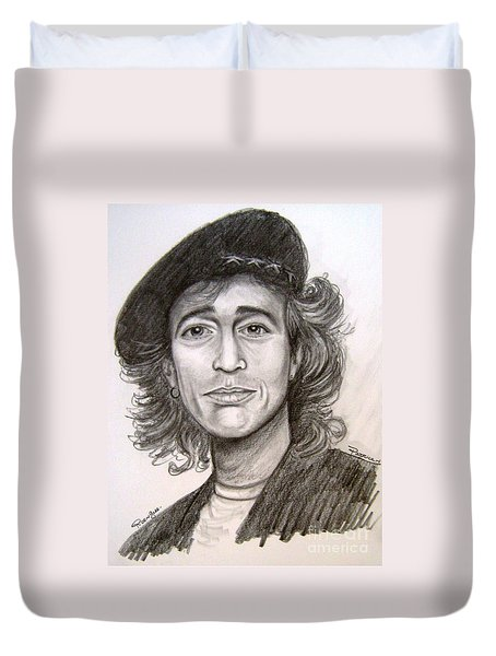 Duvet Cover featuring the painting Robin Gibb by Patrice Torrillo