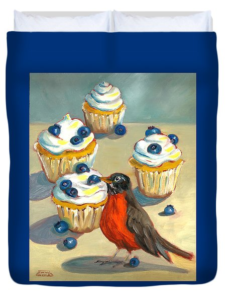 Robin With Blueberry Cupcakes Duvet Cover