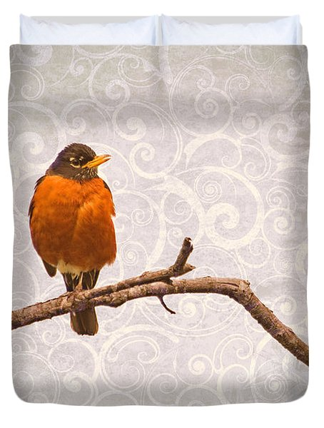 Duvet Cover featuring the photograph Robin With Damask Background by Peggy Collins