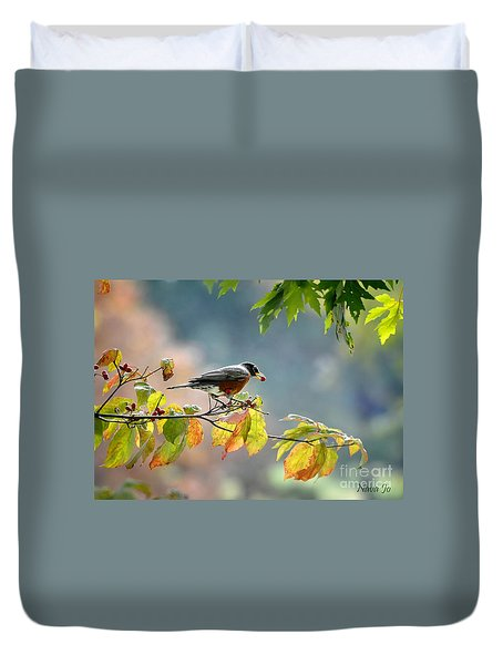 Duvet Cover featuring the photograph Robin With Red Berry by Nava Thompson