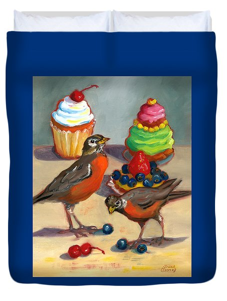 Robins And Desserts Duvet Cover