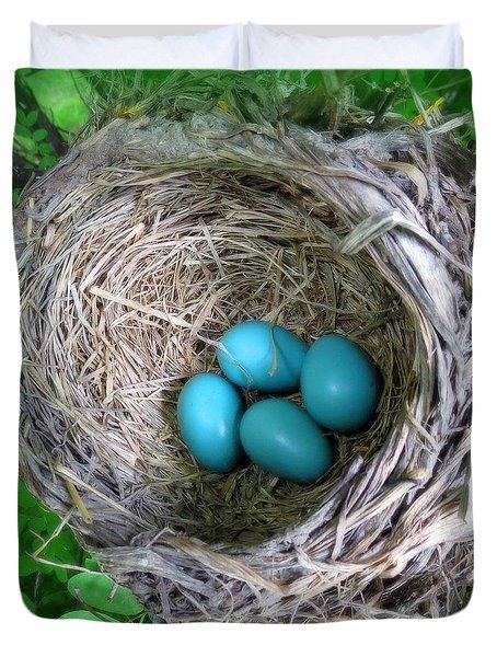 Robin's Eggs Duvet Cover by Ramona Johnston