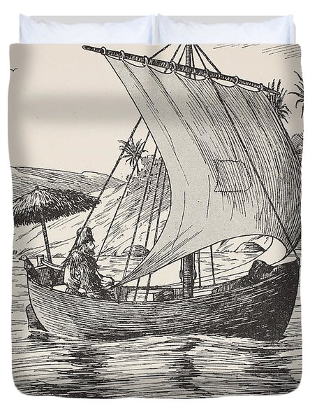 Robinson Crusoe On His Boat Duvet Cover