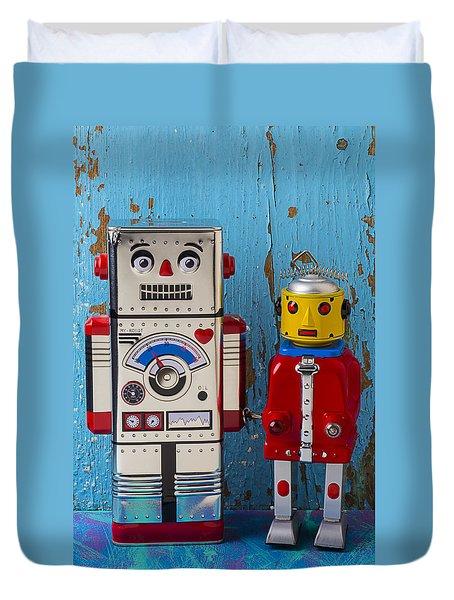 Robot Friends Duvet Cover by Garry Gay