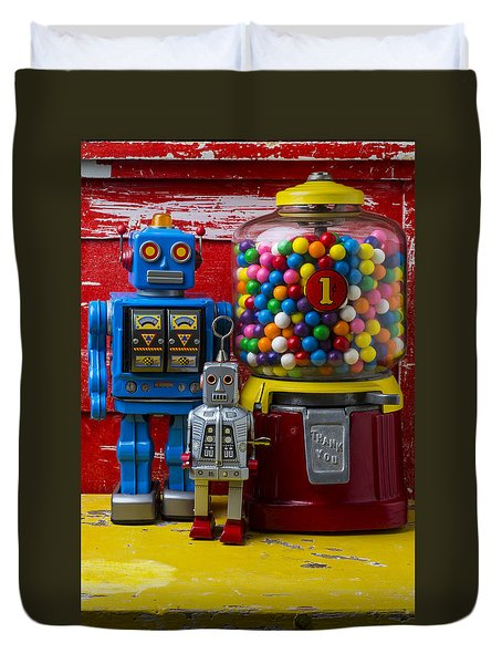 Robots And Bubblegum Machine Duvet Cover by Garry Gay