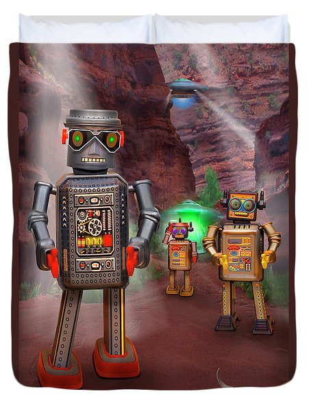 Robots With Attitudes 2 Duvet Cover by Mike McGlothlen