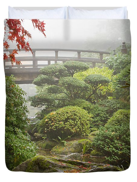 Duvet Cover featuring the photograph Rock And Bridge At Japanese Garden by JPLDesigns