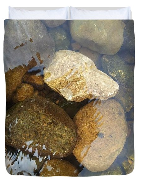 Rock And Pebbles Duvet Cover by David Stribbling