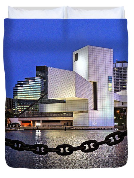 Duvet Cover featuring the photograph Rock And Roll Hall Of Fame - Cleveland Ohio - 1 by Mark Madere