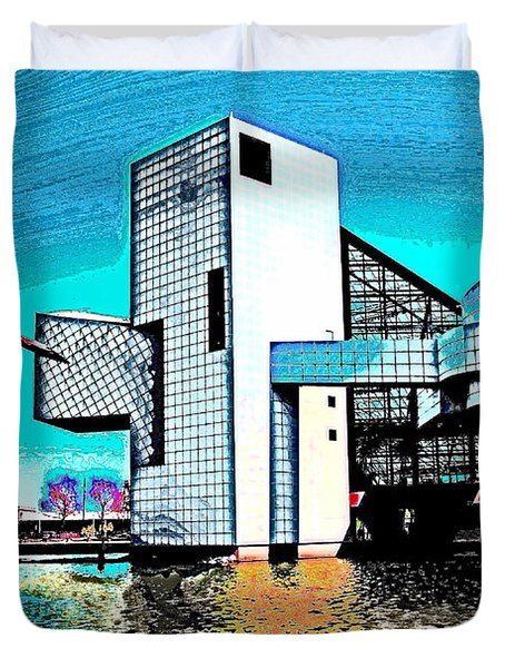 Duvet Cover featuring the photograph Rock And Roll Hall Of Fame - Cleveland Ohio - 4 by Mark Madere