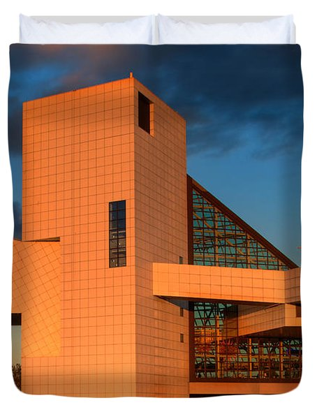 Rock And Roll Hall Of Fame Duvet Cover by Jerry Fornarotto