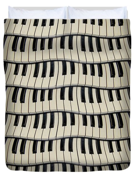 Rock And Roll Piano Keys Duvet Cover
