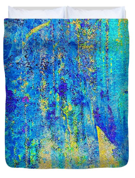 Rock Art Blue And Gold Duvet Cover
