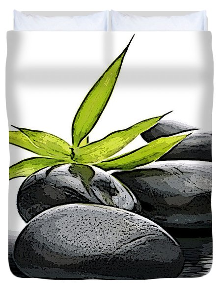 Duvet Cover featuring the mixed media Rock Art by Marvin Blaine