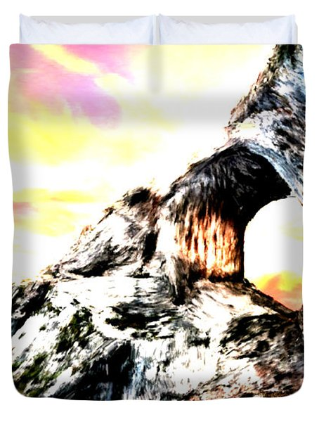 Duvet Cover featuring the painting Rock Cliff Sunset by Bruce Nutting